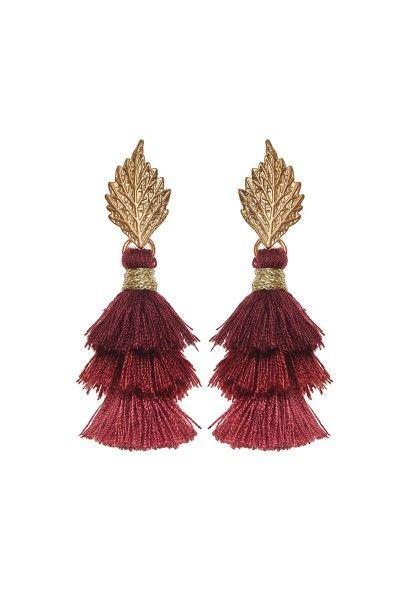 Pom Pom Leaf Earrings
