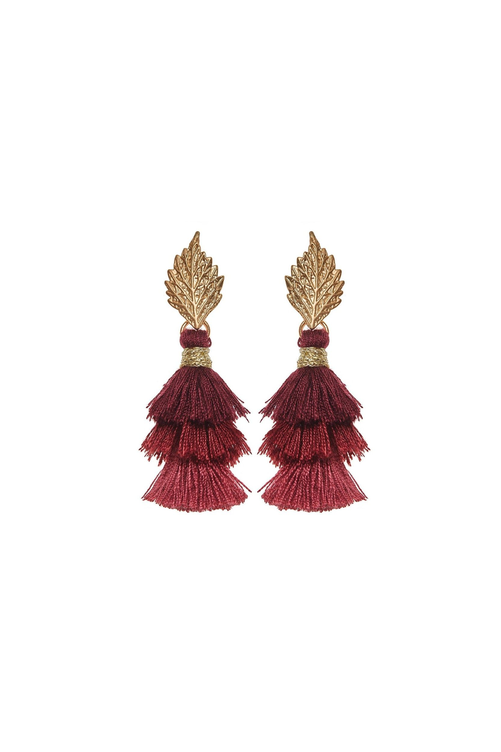 0cd31543876ee Pom Pom Leaf Earrings