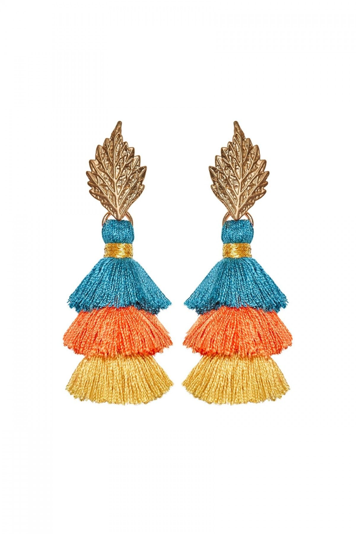 Pom Pom Leaf Summer Earrings