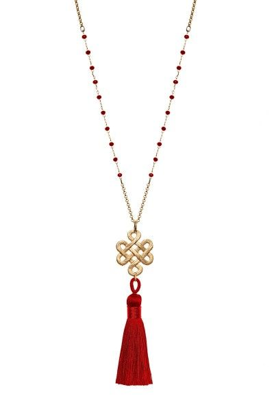 Eternity Knot & Tassel Necklace
