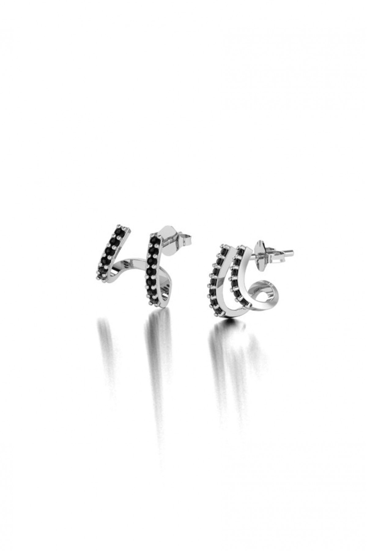 Double Cuff Silver Earrings