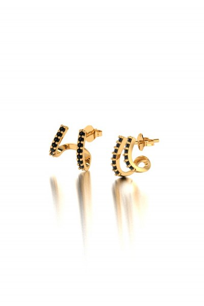 Double Cuff Golden Earrings
