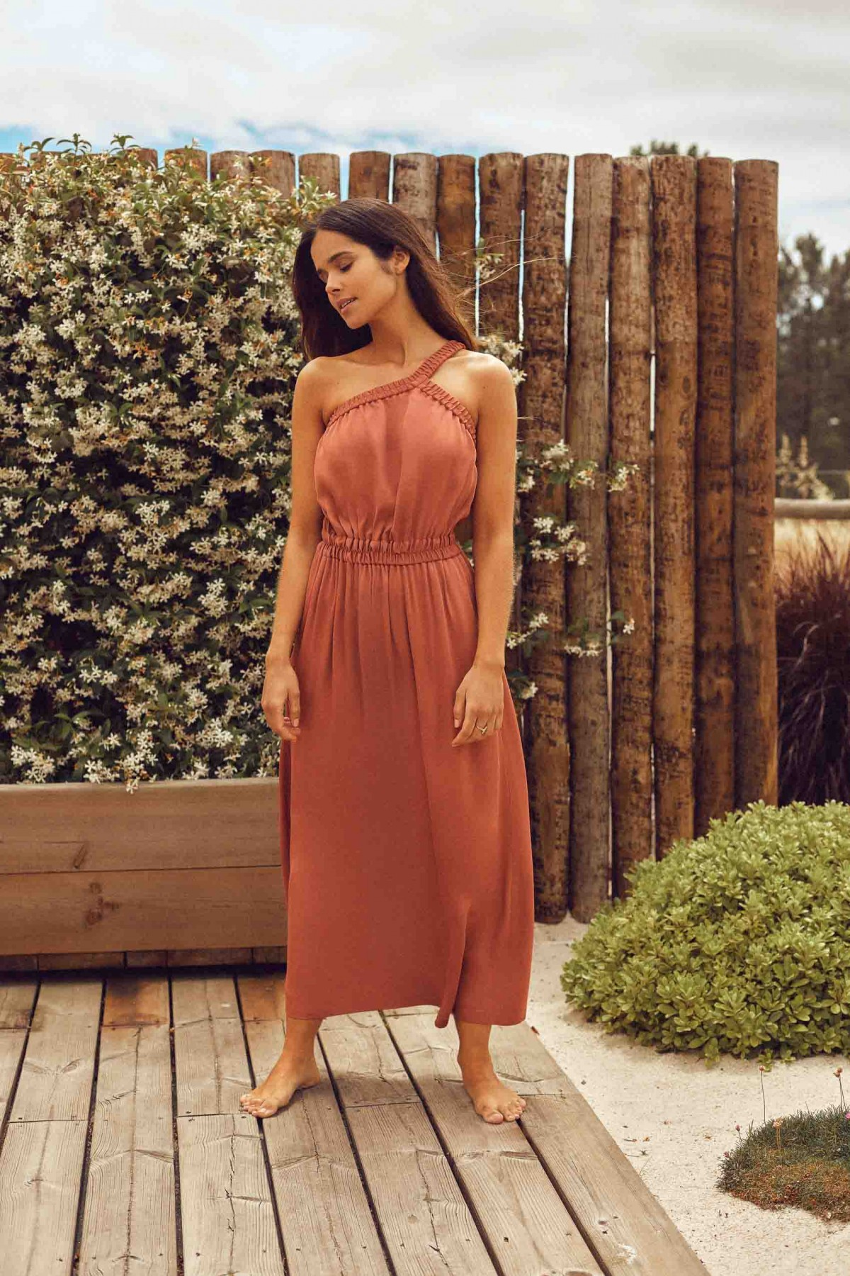 Cleo One Shoulder Terracota Dress