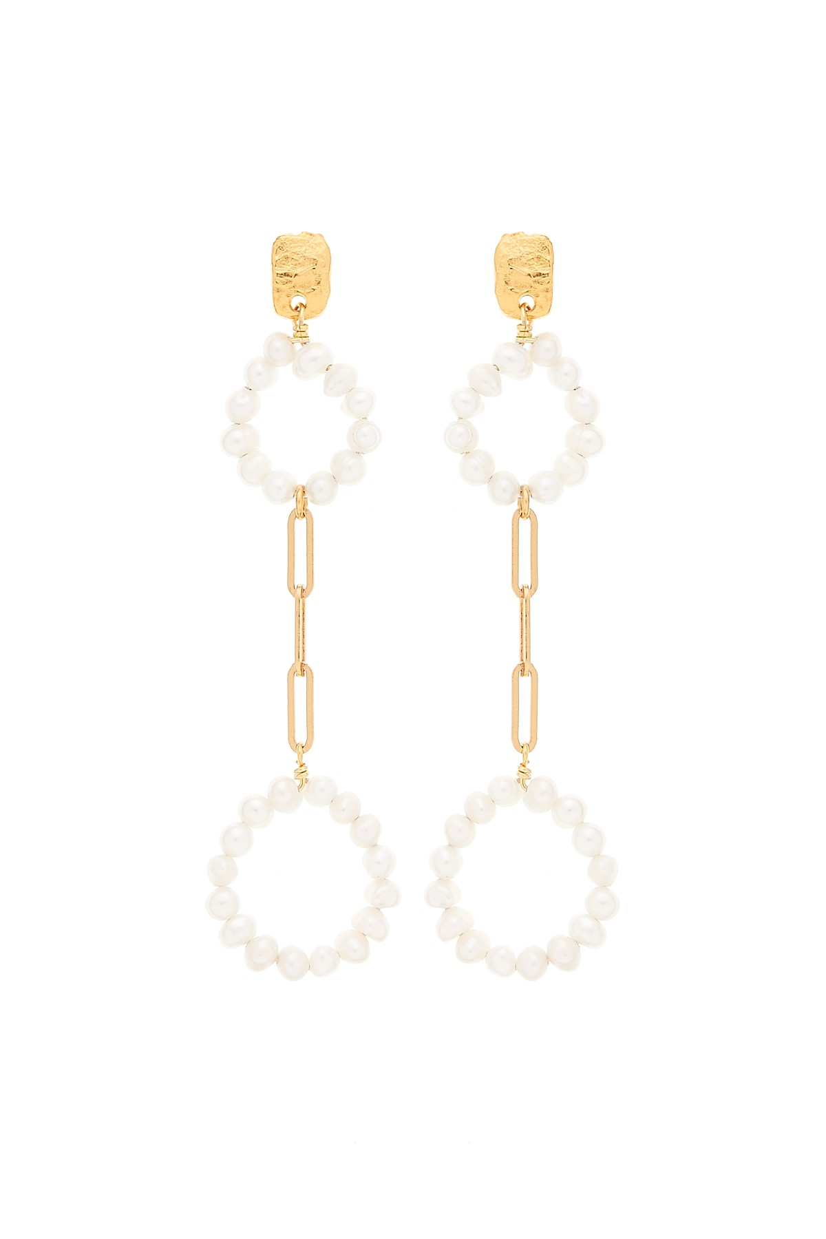 Pearly Circle Double Earrings